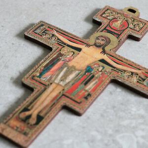 "San Damiano 5"" Wall Cross Gold Stamped Crucifix Crucifijo Catholic Cruz"