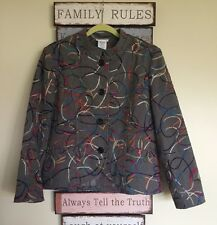 BLAIR Geometric Woven Tapestry Jacket Multi-Color Size 16P NWOT