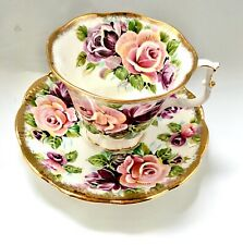 Rare Royal Albert Summer Bounty series Amethyst coffee, tea cup and saucer