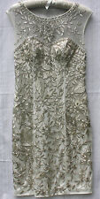 GORGEOUS SUE WONG Embroidered/Beaded Evening/Formal Dress - Ivory/Silver Size 6