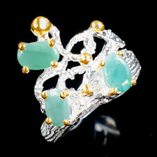 Vintage Art Natural Emerald 925 Sterling Silver Ring Size 8/R98275