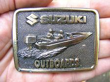 Vtg SUZUKI OUTBOARDS Belt Buckle BOAT Motor SIGN Boating LE Pewter RARE VG++
