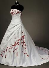 STOCK New White And Red  Embroidery Lace Up Wedding Dress Bridal Gowns Size 6-20