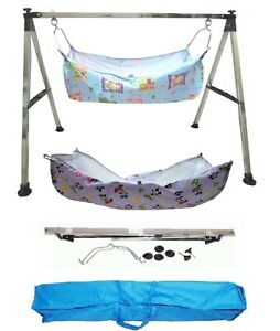 Smart Folding Steel Cradle Square Pipe with two cotton hammock Blue KR123
