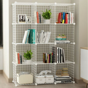 2 to 25 Cube White DIY Wire Storage Shelves Cabinet Metal Display Shelf Toy Book