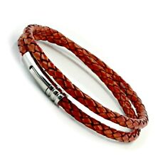 Leather Bracelet For Men-Double Wrapped With Stainless Steel Trigger-Red Brown