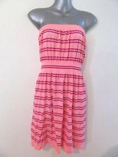 RETRO Inspired 70's Orange Striped Strapless Dress Soft Stretch Fabric OS