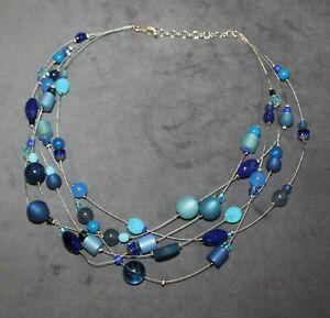 Adi-Modeschmuck; Kette mit blauen Perlen + Strängen; wunderschön; Kette 864; neu