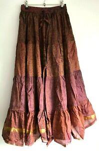 Boho hippy pixie Gypsy Hippie Festival Maxi long Skirt Sari Silk FREE SIZE #1