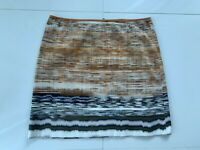 Elie Tahari Ivory Copper & Taupe Cotton Print Straight Skirt SZ 14 L