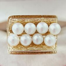 Vintage 14K Solid Yellow Gold 2 Row Genuine Pearl Ring Size 6.5