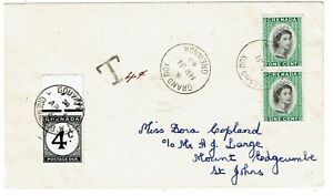Grenada 1960 Grand Roy cancel on internal cover, postage due affixed