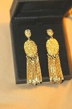 RARE VINTAGE GLISTENING ALICE CAVINESS TEXTURED FRINGE DANGLE EARRING