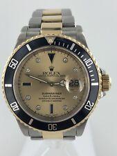 Rolex Submariner 18k Gold Steel Watch Champagne Diamond Dial Black Bezel 16613T