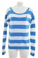 HOLLISTER Womens Jumper Sweater Size 10 Small Blue Striped Cotton  LM03