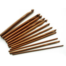 12PCS Bamboo Crochet Wooden Hooks- Knitting Yarn Needles Crafts Tools # 3mm-10mm