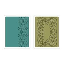 Sizzix Textured Impressions Embossing Folders 2PK Scrolls & Lace Set 659595
