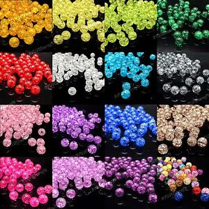 Pack of 100 Round Crackle Loose Beads 8mm 10mm Assorted Colours UK Seller