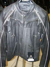 Harley Davidson Mens BOULDER Black Leather Reflective Jacket  97179-14VM  L