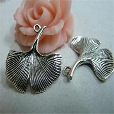 20pcs Antique Silver Tone Fashion Ginkgo Leaf Charm 23*25mm Pendants Punk P544