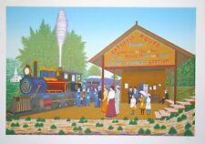 LEDAN François dit FANCH- Lithographie originale signée- Le train