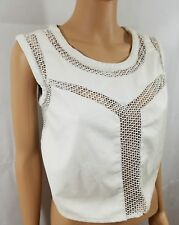 Top White Crop White Faux Leather Casual Summer Fishnet Sleeveless Blouse Size S