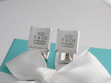 Tiffany & Co 1837 Silver Square Cufflinks Packaging Box Pouch Card Ribbon
