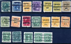 """(524p) STAMPS CANADA BOB SELECTION OF 18 """"PRE CANCELS"""""""
