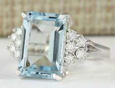 2ct Emerald Cut Blue Aquamarine Solitaire Engagement Ring 14k White Gold Over