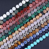 Natural Gemstone Coin Flat Back Bracelet Spacer Loose Beads 10MM