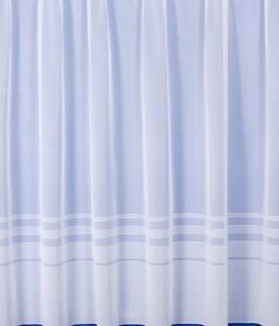 MODERN STRIPPED PLAIN WHITE NET WINDOW CURTAIN, 4000 STRAIGHT BOTTOM ALL SIZES