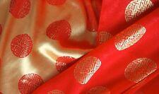 """70 % Seide """"Glück"""" rot/gold 110 cm breit Meterware"""