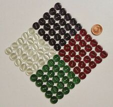 100 FISH EYE BUTTONS -14mm COLOUR ASSORTMENT - WHITE NAVY FOREST GREEN WINE