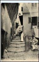 ALGER ALGIER 1913 Vintage Postcard used Rue Casbah alte Postkarte