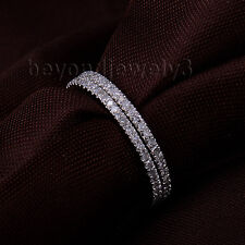 Solid 14K White Gold Natural Diamond Engagement Wedding Elternity Band Rings