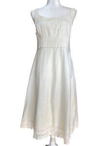 Antonio Melani dress ivory sleeveless fit & flare pintuck eyelet lined Size 14