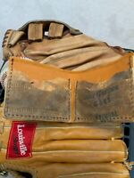 Baseball glove wallet, bifold made from baseball mitts and steer hide