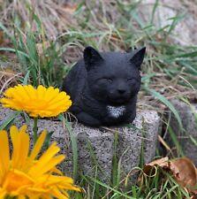 Steinfigur Katze Nappy schwarz ruhend Steinguss frostfest wetterfest Gartenfigur