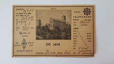 1933 DE 1498 ( WARTBURG, BERLIN DASD Radio QSL CARD ) From: Hans Sommer RARE
