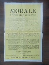 VINTAGE STYLE WWII INFORMATION PROPAGANDA POSTER - MORALE -HOW TO PLAY YOUR PART