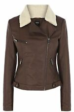 Oasis Women's Brown Borg Collar Faux Leather Jacket L