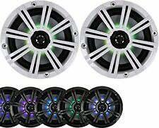 """2-Speakers Kicker 6.5"""" 195W Marine Audio Coaxial Color LED Lights White Grills"""