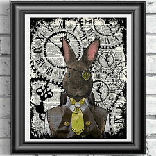 Steampunk Rabbit art print on original book page Dandy Animal Vintage dictionary