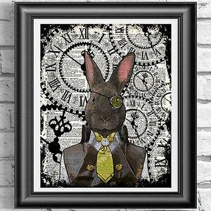 Steampunk Rabbit art print on original book page Dandy Animal Vintage dictionary