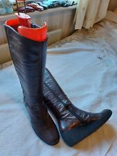 Vagabond Brown Leather Knee High Boots Size 5 Wedge Heels