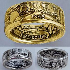 1945 Münz Ringe Half Dollar Walking Liberty Herren Münzring Schmuck Größe 7-13