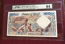 Algeria Algérie Tunisia 100 New Franc Bank Note 1961 PMG 64 UNC Pick 121b Finest