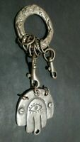 HAMSA Silver Rare Keychain JERUSALEM Bible Prayer Blessing from Holy Land