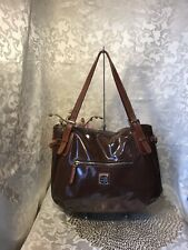 Dooney and Bourke Brown Patent Leather Large Nina Shoulder Bag NICE