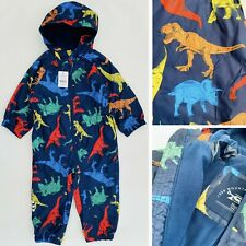 New Nutmeg Boys Navy Dinosaurs Fleece Lined Waterproof All In One Puddlesuit